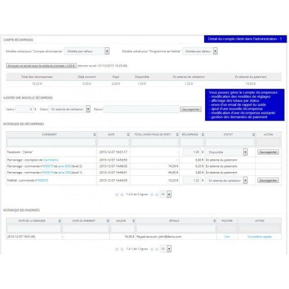fidélité prestashop - All-in-one Rewards - compte client