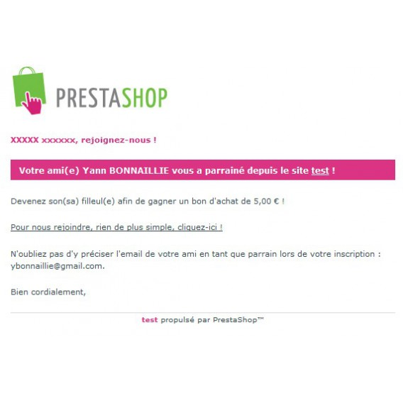 Customer advanced referral program for Prestashop